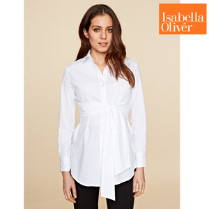 Isabella Oliver Tie Front Shirt-Pure White
