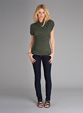 Isabella Oliver The Urban Ruched Top-Khaki