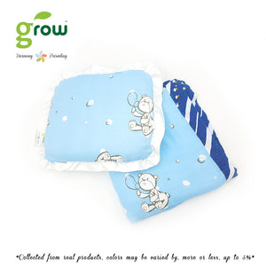 Grow หมอนหลุมพร้อมปลอกหมอนใยไผ่ Natural Latex Baby Pillow with Bamboo muslin Case - Bubble Bear Crystal Blue