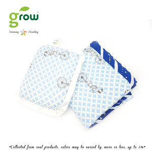 Grow หมอนหลุมพร้อมปลอกหมอนใยไผ่ Natural Latex Baby Pillow with Bamboo muslin Case - Fantasy Circus Vintage Blue