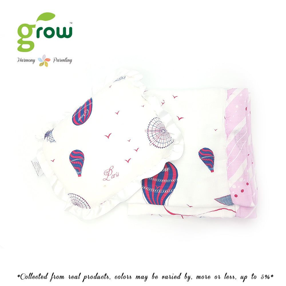 Grow หมอนหลุมพร้อมปลอกหมอนใยไผ่ Natural Latex Baby Pillow with Bamboo muslin Case - Bearboo in Paris Royal Pink