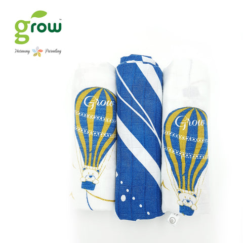 Grow-bamboo muslin cloth diapers-Bearboo in Paris Royal Blue โกรว ผ้าอ้อมจากใยไผ่ 100% ลาย Bearboo in Paris Royal Blue