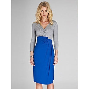 Isabella Oliver Lana Dress-Grey Melange/Cobalt Blue