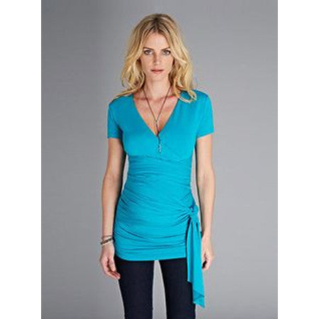 Isabella Oliver The Cap Ruched Wrap Top-Turquoise