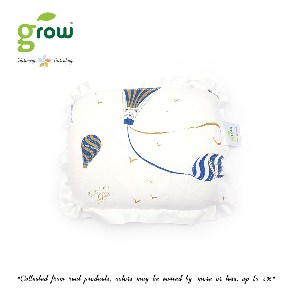 Grow หมอนหลุมพร้อมปลอกหมอนใยไผ่ Natural Latex Baby Pillow with Bamboo muslin Case - Bearboo in Paris Royal Blue