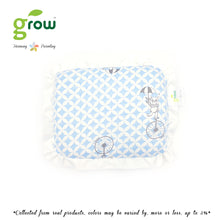 Load image into Gallery viewer, Grow หมอนหลุมพร้อมปลอกหมอนใยไผ่ Natural Latex Baby Pillow with Bamboo muslin Case - Fantasy Circus Vintage Blue