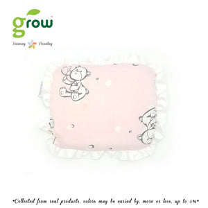Grow หมอนหลุมพร้อมปลอกหมอนใยไผ่ Natural Latex Baby Pillow with Bamboo muslin Case - Bubble Bear Rose Pink