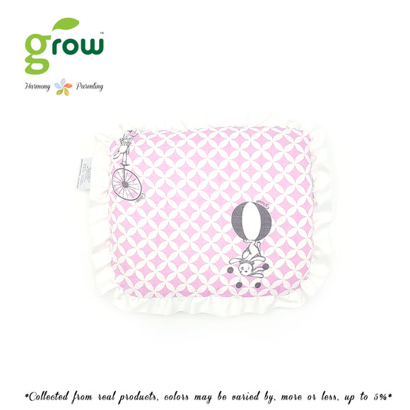 Grow หมอนหลุมพร้อมปลอกหมอนใยไผ่ Natural Latex Baby Pillow with Bamboo muslin Case - Fantasy Circus Vintage Pink