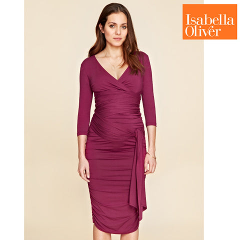 Isabella Oliver The Ruched Wrap Dress-Berry