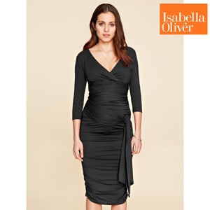 60e79d7db752e Isabella Oliver The Ruched Wrap Dress-Caviar Black – Bambi Garden