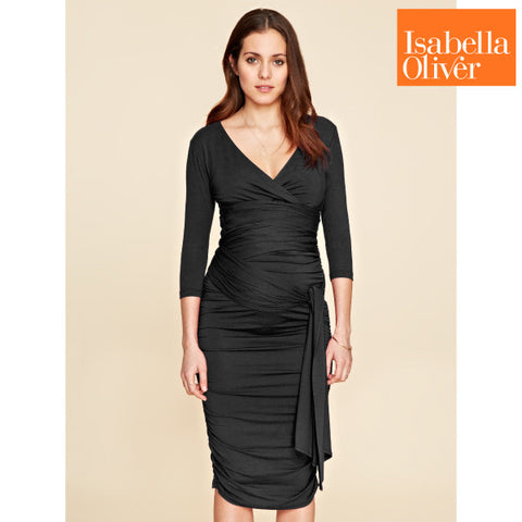 Isabella Oliver The Ruched Wrap Dress-Caviar Black