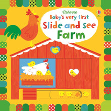 Load image into Gallery viewer, Usborne Baby's very first Slide and see farm  หนังสือ Baby's very first Slide and see farm  สำหรับเด็ก แรกเกิด ขึ้นไป