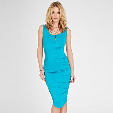 Isabella Oliver Ruched Tank Dress-Turquoise