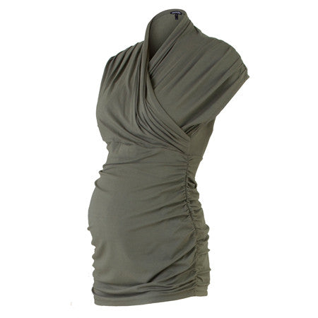 30d3a1bf73fa8 Isabella Oliver The Urban Ruched Top-Khaki
