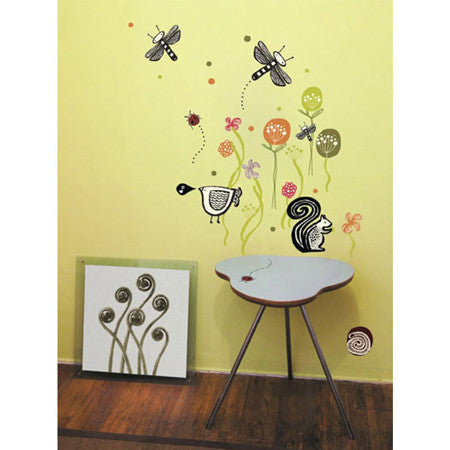 None Toxic Re-positionable Wall Stickers-Garden