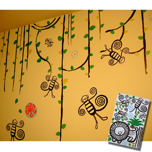 None Toxic Re-positionable Wall Stickers-Jungle (Clearance Sale)