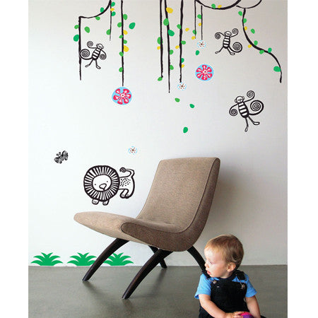 None Toxic Re-positionable Wall Stickers-Jungle