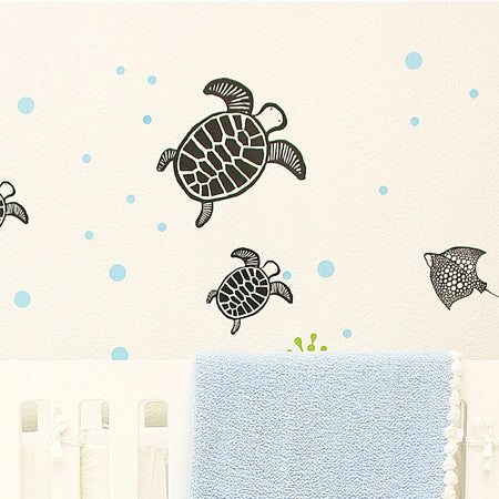 None Toxic Re-positionable Wall Stickers-Sea
