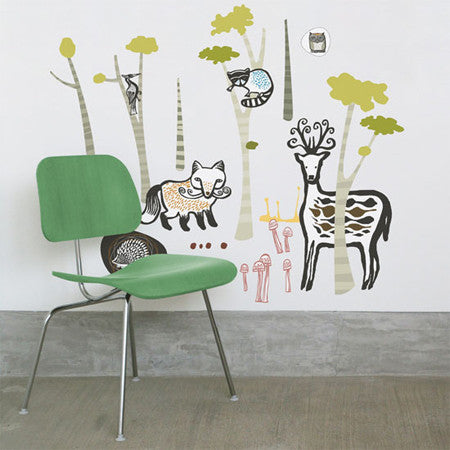 None Toxic Re-positionable Wall Stickers-Woodland