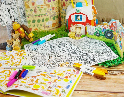 Washable Silicone Coloring Mat - Animal Friends