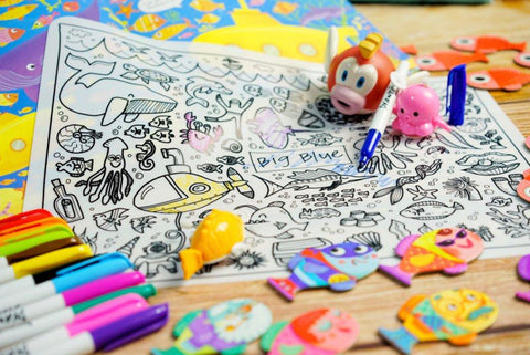 Washable Silicone Coloring Mat - Big Blue