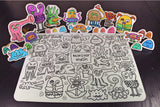 Washable Silicone Coloring Mat - Monster Mash