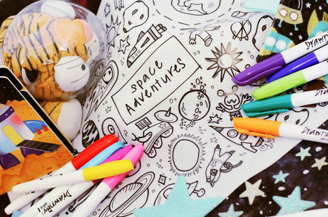 Washable Silicone Coloring Mat - Space Adventures
