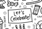 Washable Silicone Coloring Mat - Let's Celebrate