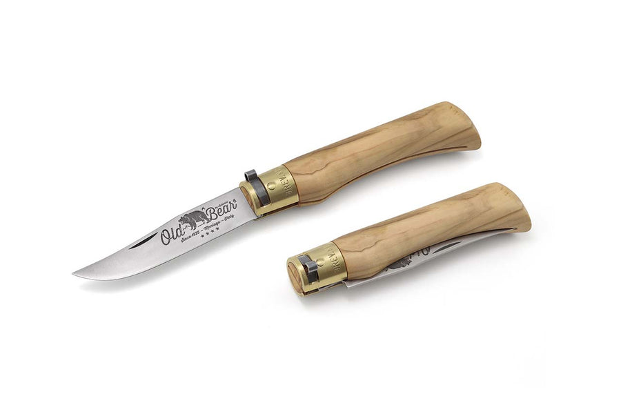 Antonini Old Bear Carbon Knife - Olive Wood