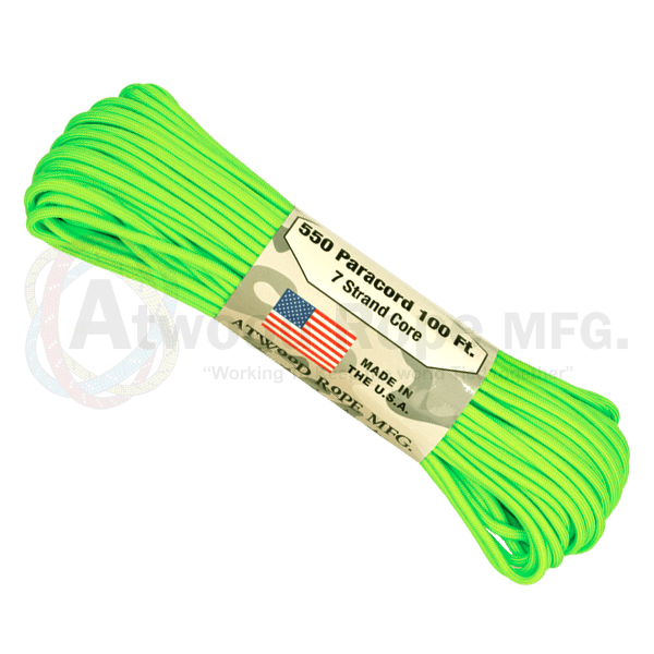 Atwood Rope Company 550 Paracord Neon Green 30mtr-Bushcraft-BushcraftLab