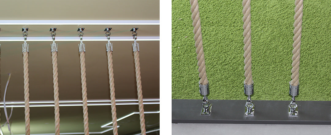 Rope wall installtion - showing the bottom fittings and ceiling fittings