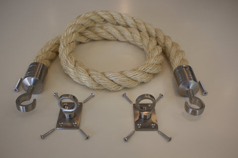 36mm Barrier Rope System Decking Rope Satin Chrome Fittings Hooks Plates 2 Mtr