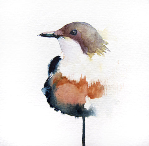 JEN BUCKLEY ART  signed PRINT of my original LITTLE BIRD watercolour 6x6 inch - Jen Buckley Art  - 1
