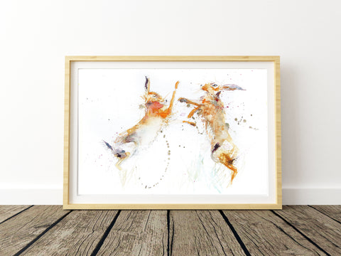 Boxing hares print by Jen Buckley