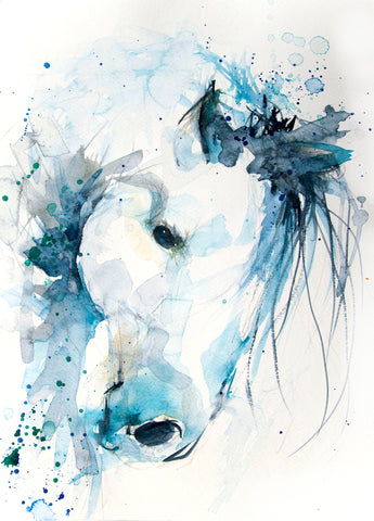 JEN BUCKLEY signed LIMITED EDITION PRINT of my original HORSE watercolour