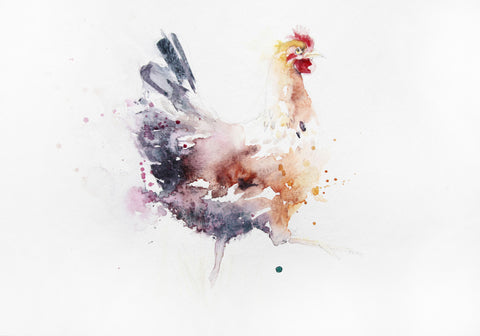 JEN BUCKLEY signed LIMITED EDITON PRINT of my original HEN watercolour
