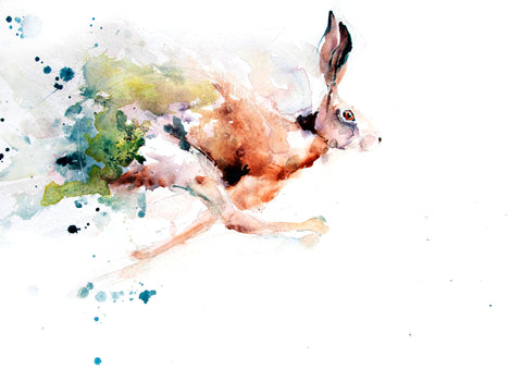 JEN BUCKLEY signed LIMITED EDITON PRINT of my original running HARE watercolour