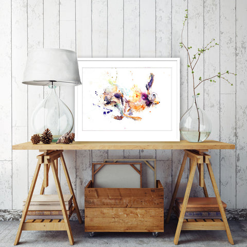 signed LIMITED EDITON PRINT of original running HARE watercolour