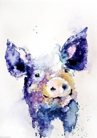 JEN BUCKLEY signed LIMITED EDITON PRINT of my original HAIRY PIG - Jen Buckley Art  - 1