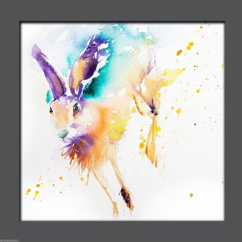 JEN BUCKLEY ART  signed PRINT of my original RUNNING HARE watercolour 8X8in  - Jen Buckley Art limited edition animal art prints