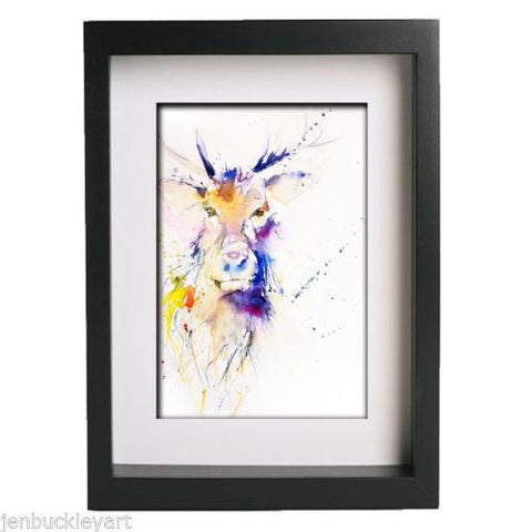JEN BUCKLEY ART  signed PRINT of my original STAG watercolour - Jen Buckley Art  - 3