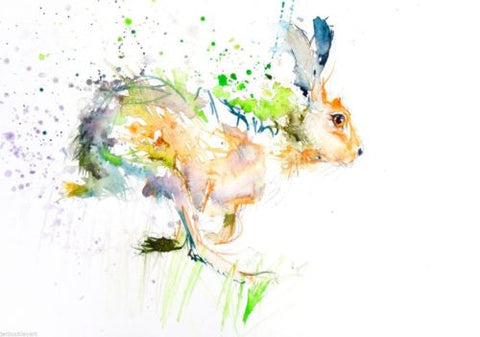 JEN BUCKLEY signed LIMITED EDITON PRINT of my original Running Hare - Jen Buckley Art limited edition animal art prints