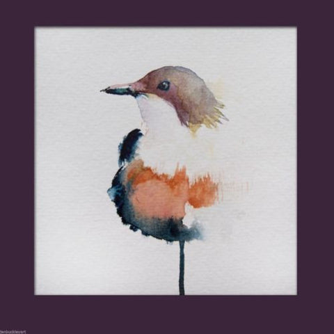 JEN BUCKLEY ART  signed PRINT of my original LITTLE BIRD watercolour 6x6 inch - Jen Buckley Art  - 2