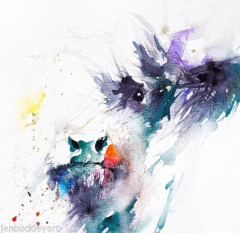 JEN BUCKLEY  signed PRINT of my original HIGHLAND COW  watercolour - Jen Buckley Art limited edition animal art prints