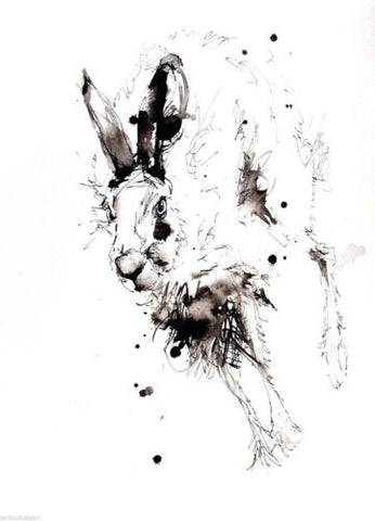 JEN BUCKLEY signed LIMITED EDITON PRINT of my original HARE watercolour   - Jen Buckley Art limited edition animal art prints