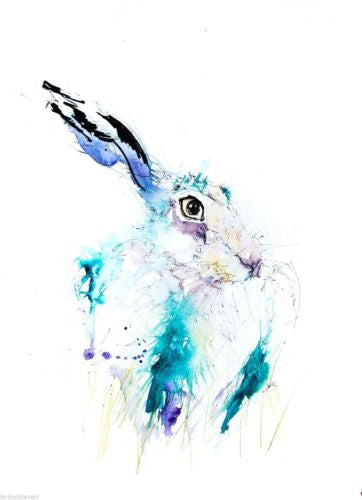 JEN BUCKLEY signed LIMITED EDITON PRINT of my original HARE  - Jen Buckley Art limited edition animal art prints