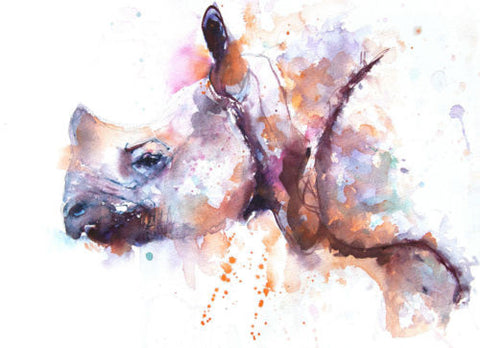 JEN BUCKLEY signed LIMITED EDITON PRINT of my original RHINO watercolour  A3 - Jen Buckley Art limited edition animal art prints