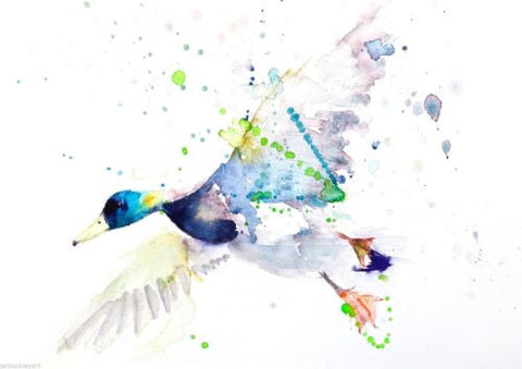 JEN BUCKLEY signed LIMITED EDITON PRINT of my original Flying DUCK - Jen Buckley Art limited edition animal art prints