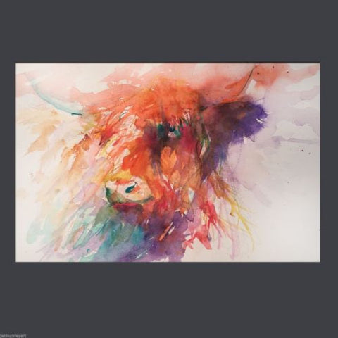 JEN BUCKLEY signed LIMITED EDITION PRINT of my original HIGHLAND COW - Jen Buckley Art limited edition animal art prints