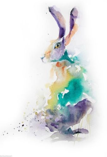 JEN BUCKLEY ART  signed PRINT of my original watercolour HARE painting   - Jen Buckley Art limited edition animal art prints